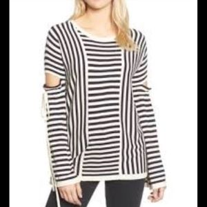 Trouve Sweater S Stripes Cut Out Tie Sleeve NEW